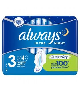 Always Ultra Night (rozmiar 3) Podpaski ze skrzydełkami, 7 sztuk