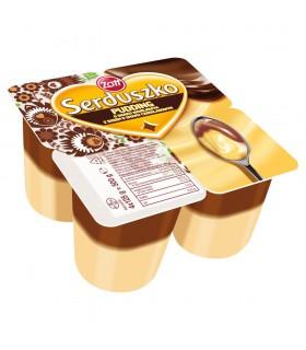 Zott Serduszko Pudding o smaku waniliowym z sosem o smaku czekoladowym 500 g (4 x 125 g)