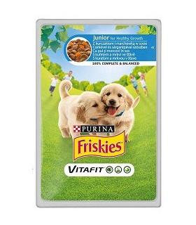 Friskies Vitafit Junior Karma dla psów z kurczakiem i marchewką w sosie 100 g