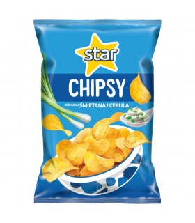 Star Chipsy o smaku śmietana i cebula 130 g