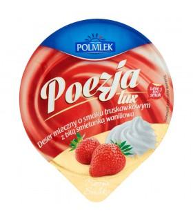 Polmlek Poezja Lux Deser mleczny o smaku truskawkowym z bitą śmietanką waniliową 180 g
