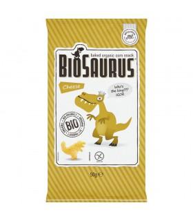BioSaurus Ekologiczne pieczone chrupki kukurydziane o smaku serowym 50 g
