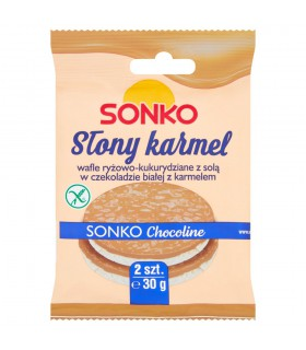 Sonko Wafle ryżowo-kukurydziane z solą w czekoladzie białej z karmelem 30 g (2 sztuki)
